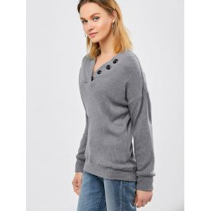 Button Decorated Ribbed Knitwear - DEEP GRAY M