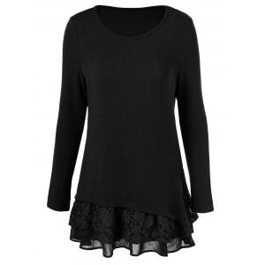 Long Sleeve Floral Lace Trim T-Shirt - Black - 2xl