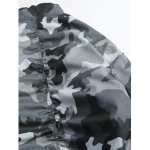 Zip Up Stand Collar Camo Bomber Jacket -