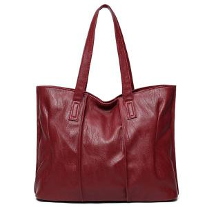 Faux Leather Shoulder Bag - Wine Red