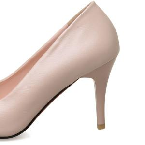 Metal Faux Leather Pumps - PINK 39