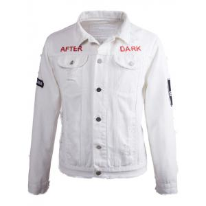 Printed Buttoned Ripped Denim Jacket - Milk White - M