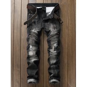 Ripped Dark Denim Biker Jeans - Black - 38