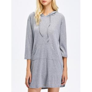 Hooded Drawstring Mini Shift Dress
