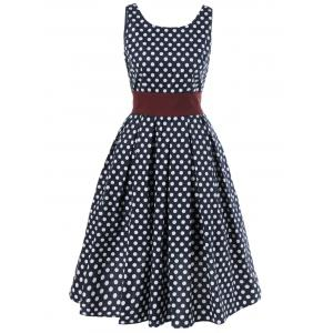 Sleeveless Polka Dot V-Back Swing Dress