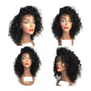 Fluffy Medium Curly Side Bang Synthetic Lace Front Wig - Black