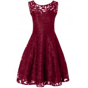 Lace Plus Size Vintage Party Short Cocktail Dress - Burgundy - 3xl