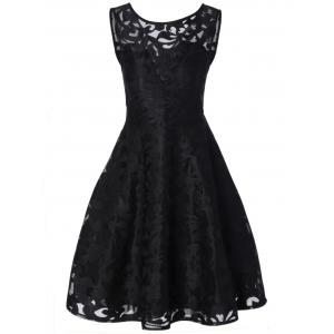 Lace Plus Size Vintage Party Short Cocktail Dress - Black - 2xl