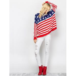Color Block America Flag Pullover Sweater - RED/WHITE 2XL