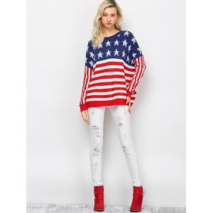 Color Block America Flag Pullover Sweater - RED AND WHITE 2XL
