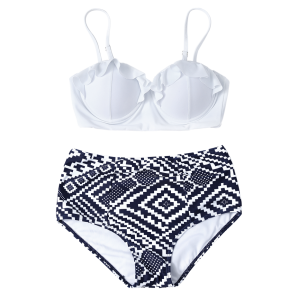High Waisted Geometric Push Up Bikini - Blue And White - S