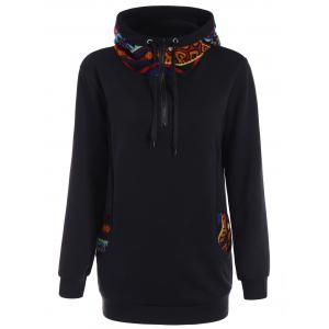 Hooded Plus Size Zippered Patterned Hoodie