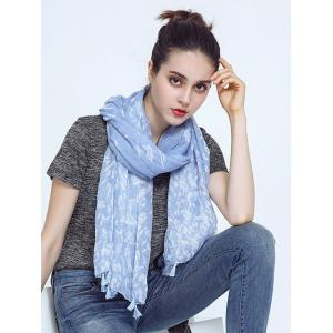 Oblong Leaf Print Voile Scarf with Tassel Pendant Edge - SKY BLUE