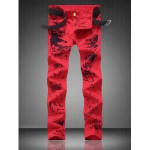 Zipper Fly Pocket Paint Splatter Straight Jeans - Red - 30