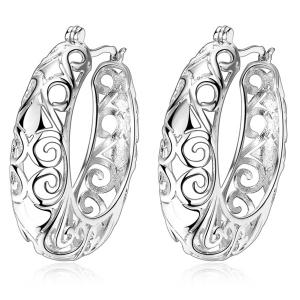 Carved Hollow Out Hoop Earrings