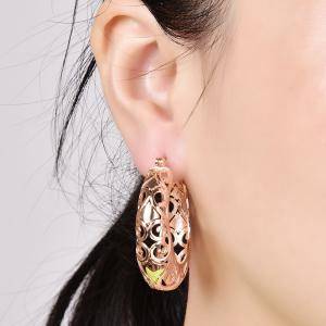 Carved Hollow Out Hoop Earrings - ROSE GOLD