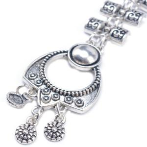 Embossed Longevity Lock Pendant Sweater Chain - SILVER