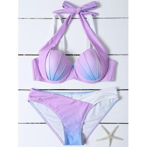 Mermaid Shell Ombre Color Halter Bikini