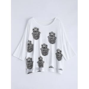 Scoop Neck High Low Printed Loose T-Shirt