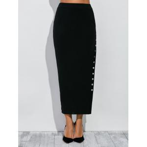 High Waist Button Up Side Slit Pencil Skirt - Black - S