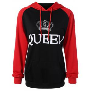 Drawstring Queen Graphic Hoodie with Pocket - Black - Xl