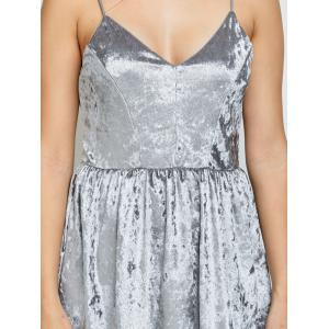 Velvet Criss Cross Backless Mini Dress - GRAY M