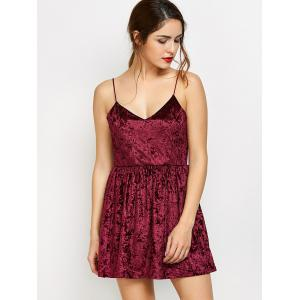 Velvet Criss Cross Backless Mini Dress -
