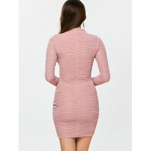 Long Sleeve Ruched Bandage Bodycon Dress - PINK S