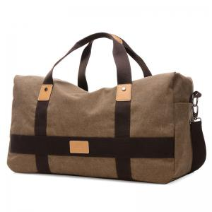 Double Pocket Zipper Canvas Tote Bag - Brown