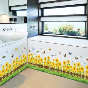 Sunflower Removable Toilet Wall Stickers - Yellow - W79 Inch * L79 Inch