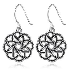 Floral Hollow Out Drop Earrings - Silver