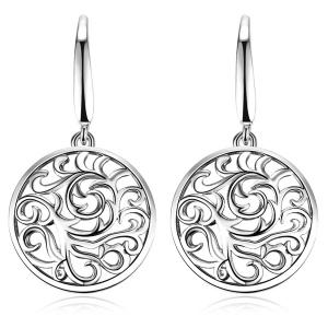 Hollow Out Round Drop Earrings - Silver
