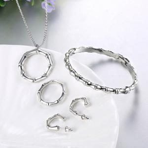 Circle Necklace Bracelet Earrings and Ring - SILVER ONE-SIZE