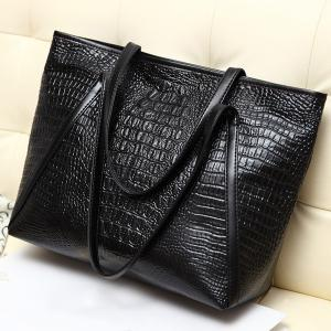 Crocodile Embossing Faux Leather Shoulder Bag - Black - 2xl