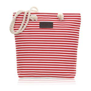 Canvas Striped Beach Bag - Red