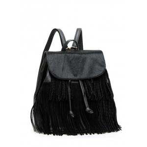 Textured Faux Leather Fringe Backpack - Black - 38