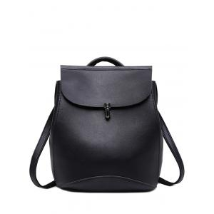 Faux Leather Flapped Backpack
