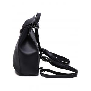 Faux Leather Flapped Backpack -
