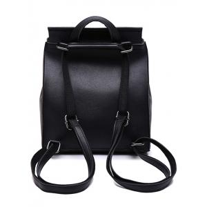 Faux Leather Flapped Backpack - BLACK
