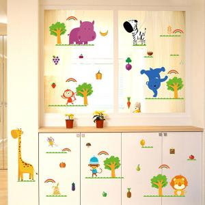 Cartoon Animal Wall Decals For Nursery - Colorful - 60*90cm