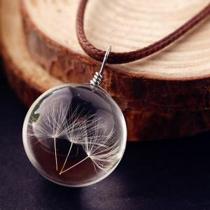 Glass Ball Dandelions Necklace