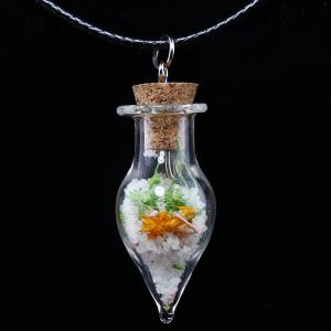 Tapered Glass Bottle Necklace - Transparent