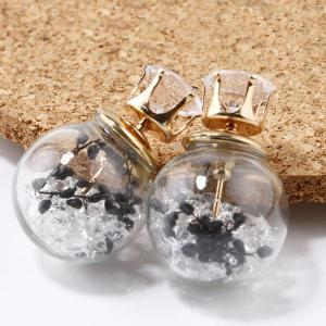 Rhinestone Double End Glass Ball Earrings - Black