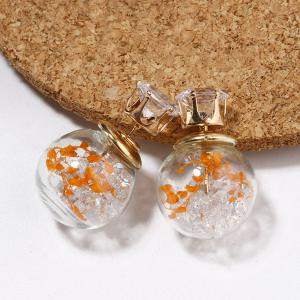 Rhinestone Double End Glass Ball Earrings