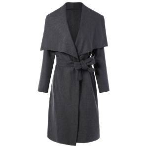 Shawl Collar Belted Wrap Coat