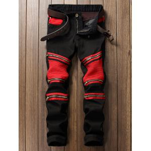 Color Block Zipper Biker Jeans - Red With Black - 29