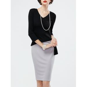 Two Tone Pencil Work Dress with Long Sleeves