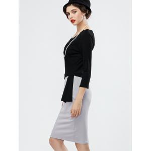 Two Tone Pencil Work Dress with Long Sleeves - BLACK AND GREY M