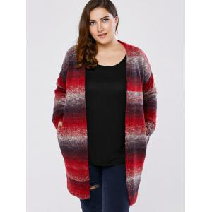 Plus Size Knitted Long Cardigan - Red - 4xl