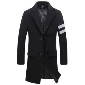 Turndown Collar Single Breasted Longline Woolen Blends Coat - Black - M